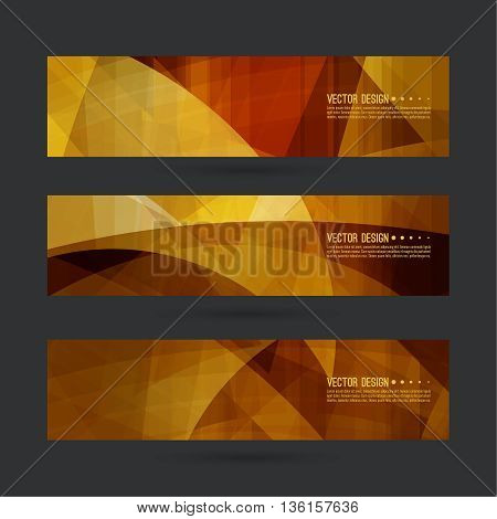 Set of abstract vector banners, header. Luxury title. Layout footer design. Dynamics and movement in curves