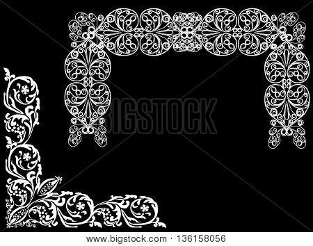 illustration with curled frame decoration on black background