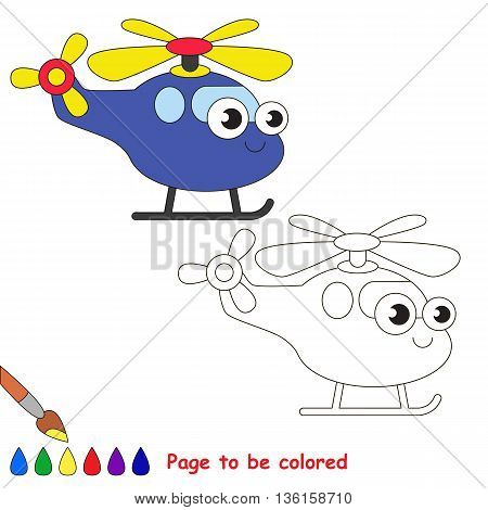Blue helicopter to be colored. Coloring book to educate kids. Learn colors. Visual educational game. Easy kid gaming and primary education. Simple level of difficulty. Coloring pages.