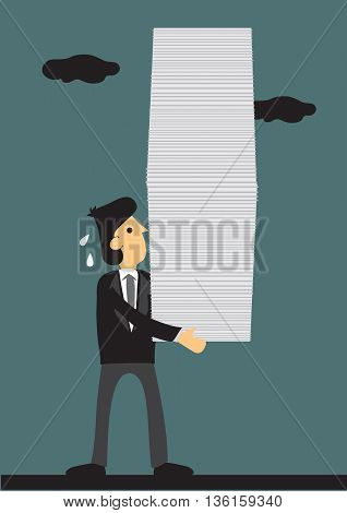 Cartoon businessman carrying a big stack of document. Vector illustration on heavy workload concept.