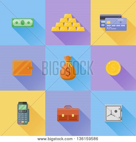 Set of money, finance flat icons. Bank note, gold coin, credit card, gold bullion, briefcase, safe, pos terminal, money bag and wallet. Vector illustration.