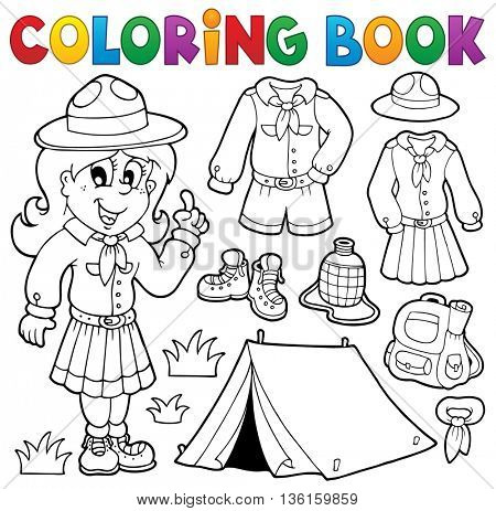 Coloring book scout thematics 1 - eps10 vector illustration.