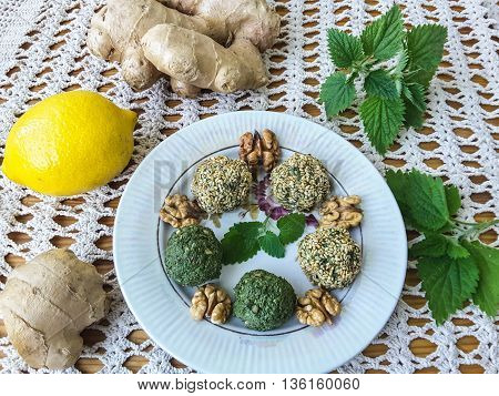 Green nettle pate paste with walnuts ginger cilantro and lemon juice in sesame
