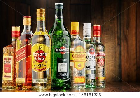 POZNAN POLAND - JUNE 23 2016:Worldwide some 2 billion people use alcohol one of the most widely used recreational drugs on earth with yearly consumption of over 6 litres of pure alcohol per person