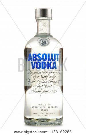 POZNAN POLAND - JUNE 23 2016: Absolut Vodka is a brand of vodka produced near Ahus in Sweden. Owned by French group Pernod Ricard it is one of the largest brand of alcoholic spirits in the world.