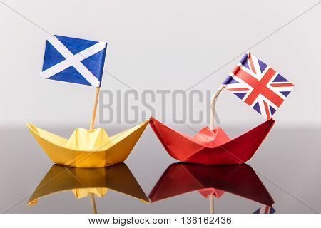 Paper Ship With British And Scots Flag