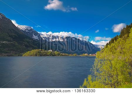 Norwegian fjord and mountains on a sunny day