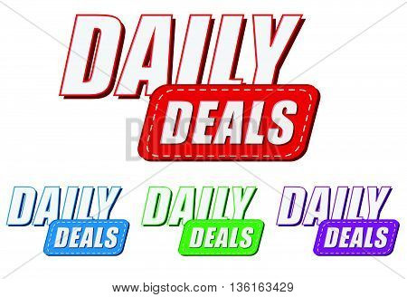 daily deals, four colors labels, flat design, business shopping concept, vector