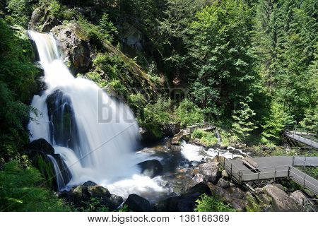 Large cascade of Triberg Waterfalls in Triberg, Black Forest, Germany