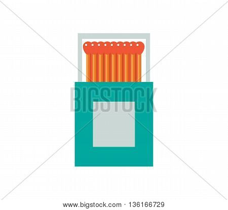 Matchbox vector illustration. Matches flat icon. matchstick isolated on white background