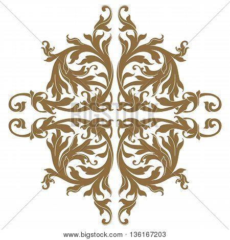 Golden vintage baroque frame scroll ornament, damask ornament, floral ornament decor ornament, scroll ornament,  golden ornament. Floral pattern, decor pattern, luxurious pattern, scroll pattern, vintage pattern. Vector.