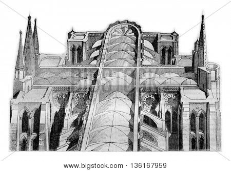 Anterior and posterior part of the cathedral of Chartres since the fire on 4 and 5 June View taken of one of the drivers, vintage engraved illustration. Magasin Pittoresque 1836.