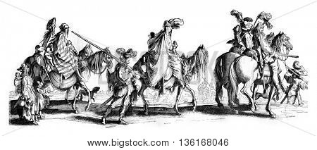 Bohemians, wizards, jugglers or thieves, gypsies Gays, or to have you come, vintage engraved illustration. Magasin Pittoresque 1836.