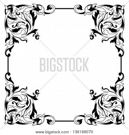 Vintage floral baroque frame, ornamental frame, decor frame, menu frame, refined frame, royal frame, vintage frame, filigree frame. Vector.