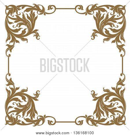 Golden vintage floral baroque frame, ornamental frame, decor frame, menu frame, refined frame, royal frame, vintage frame, filigree frame. Vector.