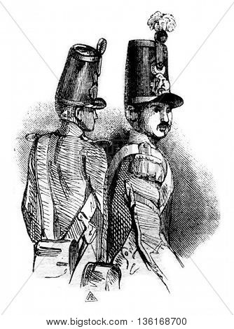 Cylindrical shako, vintage engraved illustration. Magasin Pittoresque 1836.