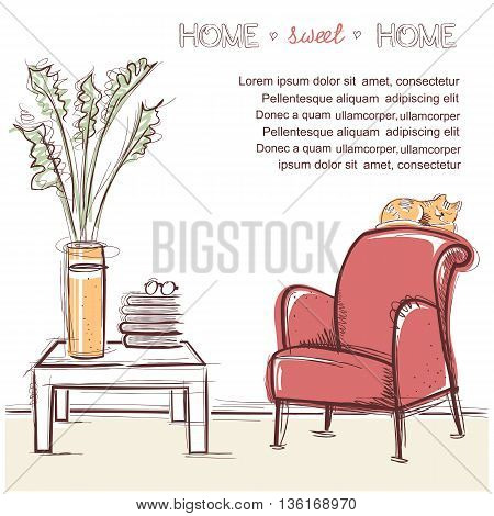 Sweet Home Card.vector Hand Drawing Illustration