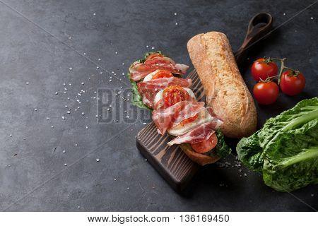 Ciabatta sandwich with romaine salad, prosciutto and mozzarella cheese over stone background. View with copy space