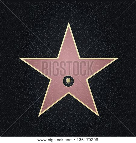 Fame star with place for name.Top view.