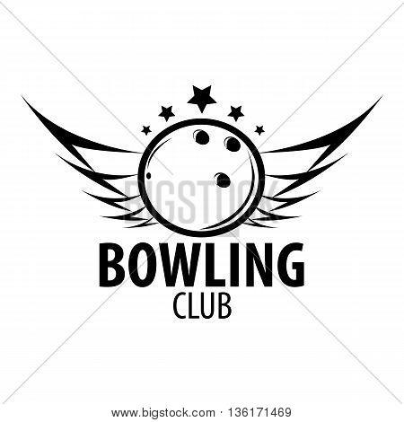 Bowling emblems, labels, badges and designed elements. Black and white isolated. Vector Illustration.