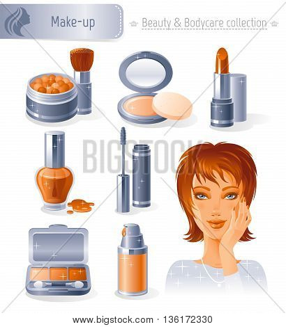 Beauty and cosmetics icon set with beautiful young adult woman, holding hand near face on white background. Makeup healthy lifestyle symbols for peoples hair, skin and body care.