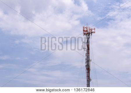 Antenna towerantenna tower building with the blue sky.Close-up of the antenna building with the sky background.Communication antenna tower with the sky background in close-up scene.