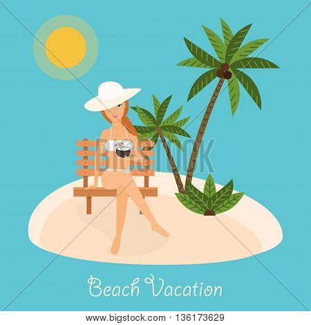 Woman Sits On Deckchair With Cocktail In Hand. Vector Illustration On Summer Vacation Beach Resort.