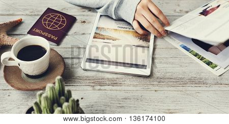 Lady Reading Travel Article Concept