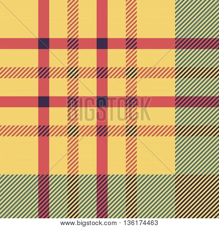 Set Of Seamless British Tartan Pattern. Plaid Brown, Red And Yellow Palette Tartan Pattern. Repeated