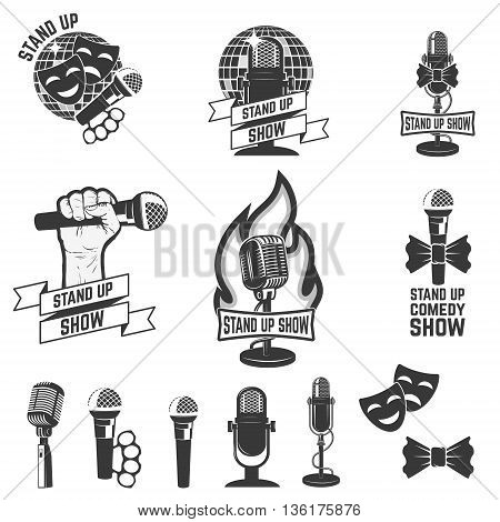 Stand up comedy show labels. Set of old style microphones. Design elements for logo, label emblem sign. Vector illustration.