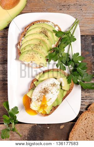 bread with avocado and poached egg
