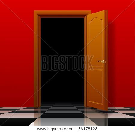Open brown door with red wall and glossy chess floor. Interior concept design. 3D illustration