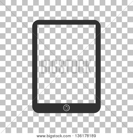Computer tablet sign. Dark gray icon on transparent background.