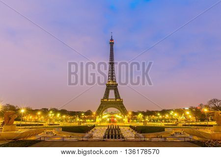 PARIS - MAR 14:Eiffel Tower Sunrise twilight, Paris France on March 14, 2015. The Eiffel tower is the most visited monument of France.