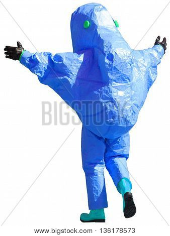 person with blue protective suit to manage hazardous materials