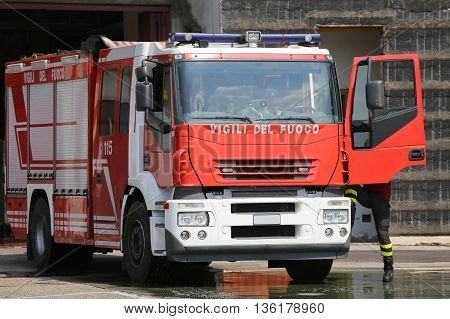 Fire Engine Truck During An Exercise In Fire Brigade Station