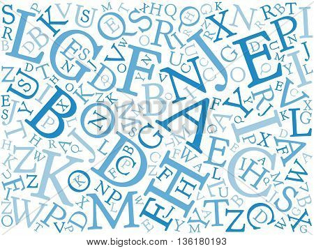 Background mosaic of blue latin alphabet letters in various sizes. Serif font. Vector illustration background.