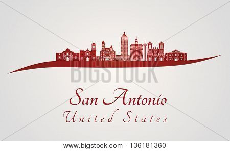 San Antonio skyline in red and gray background in editable vector file