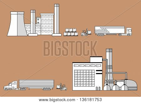 Truck, forklift loader near factory. Cargo transportation theme. Truck delivery concept. Vector illustration.