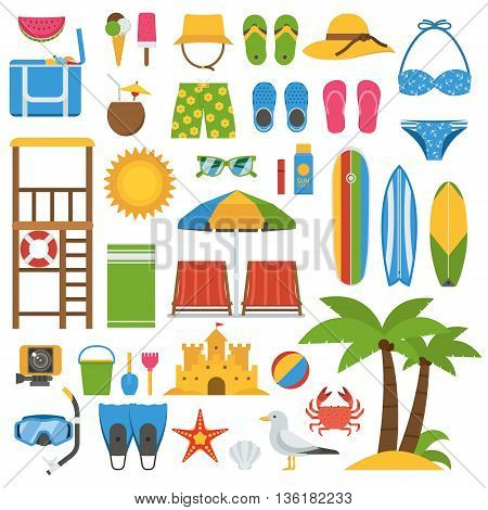 Summer beach items collection. Summertime sea vacation vector icon set. Sunbathing accessories and outdoor activity beaches elements. Marine sports and leisure symbols. Tropical holidays icons.