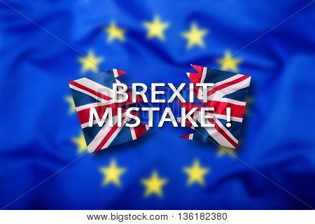 Brexit. Brexit mistake. Flags of the United Kingdom and the European Union. UK Flag and EU Flag. British Union Jack flag. Flag outside stars. England appearances in the European Union