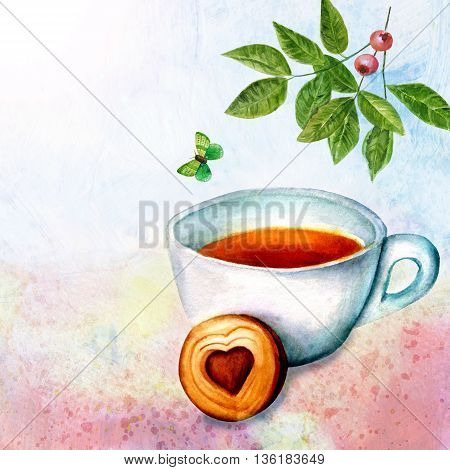 'Vintage Tea' collage: watercolor branch of green leaves with berries emerald butterfly and cup of tea with biscuit with heart-shaped coffee filling on abstract background textures with copyspace