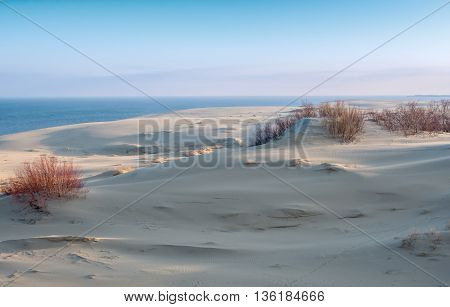 Sand dunes viewpoint at Curonian Spit in spring time