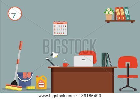 Cleaning at office concept. Vector flat illustration. Objects for cleaning of the room at office. On the picture the mop, a bucket, detergent near a workplace of office employee are presented
