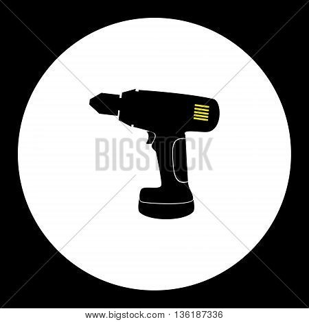 Cordless Electric Screwdriver Workshop Tool Isoated Black Icon Eps10