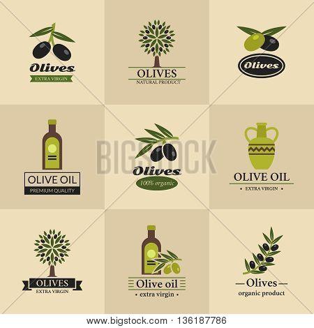 Olive vector logos, labels and emblems. Oil olive company logo, collection badge oil olive, organic oil olive illustration