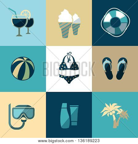 Summer vacation and beach flat vector icons. Vacation travel, holiday, tourism vacation beach, icon vacation illustration