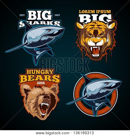Vintage animal vector color labels, badges, emblem, logo, insignia, sign, identity, logotype sports team poster. Predator emblem sport, animal sport emblem, color vintage emblem sport illustration