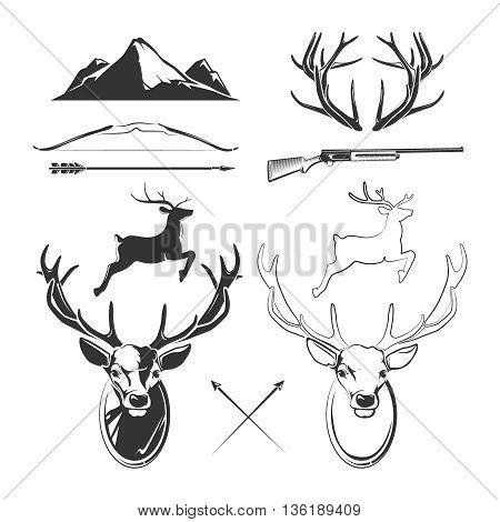 Deer head vector elements constructor for vintage hunting and hipster labels. Animal deer, horn deer and gun, reindeer head, label deer vintage illustration