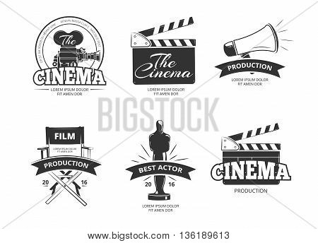Cinema vector vintage labels, emblems, badges set. Cinema emblem and badge, label cinema, camera cinema illustration